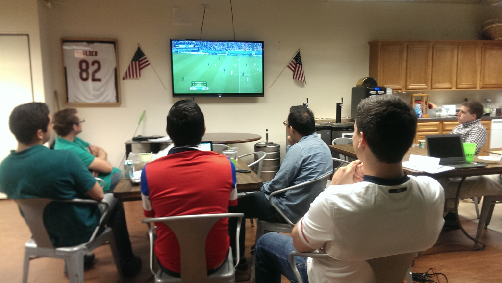 Taking a mid-day break to watch USA take on Germany during the 2014 FIFA World Cup—who says we can't play a little while we work?