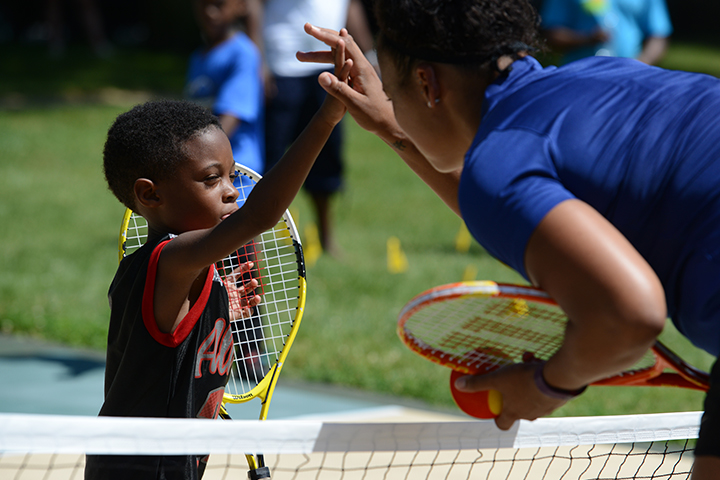 High fives for tennis!&nbsp;<br/><br/><span style='font-size: .7em; color: #868686; font-weight: bold;'>August 2016 | Summer Fitness Fest</span>